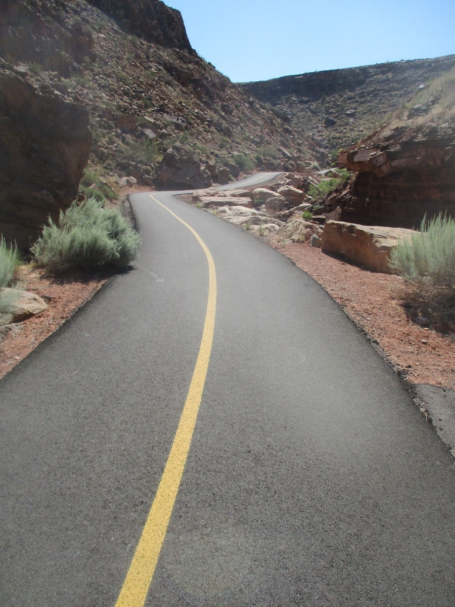 This bike trail through Hell Hole Canyon, just east of Washington will give the cyclist a bit of a roller coaster experience, photo by author