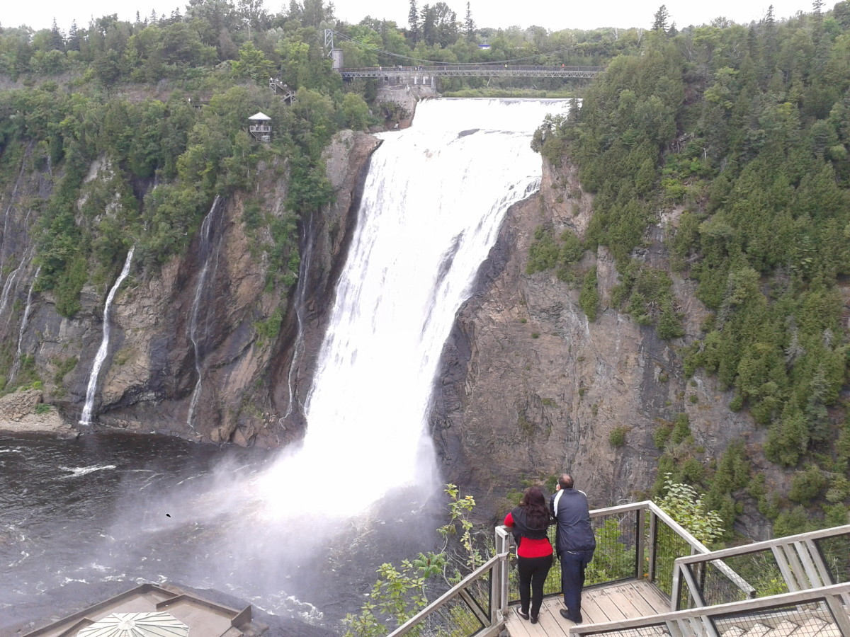 Montmorency Falls is 249 feet high, offering a zip line experience along the sheer drop of the thundering water.