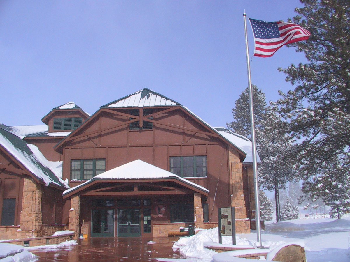 The Visitor Center in winter.  Bryce NP is high enough (elev. 8200) to receive winter snowstorms.