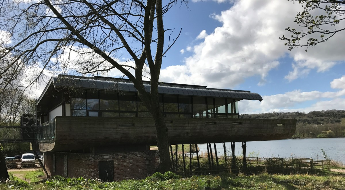 The visitor centre sits almost at waters front and is raised on stilts.