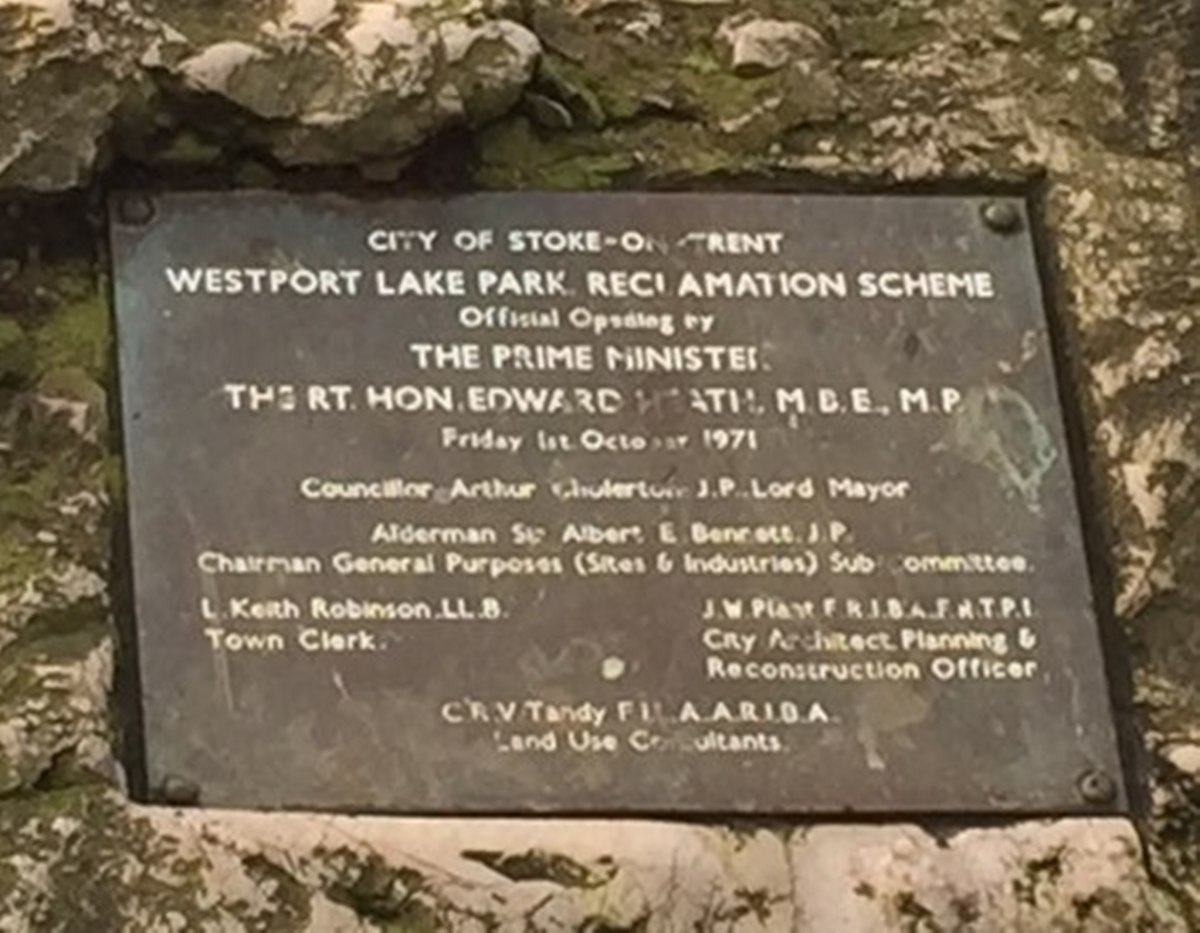 The engraved plaque serves as a reminder for posterity of the official opening day of Westport Lake by Ted Heath.