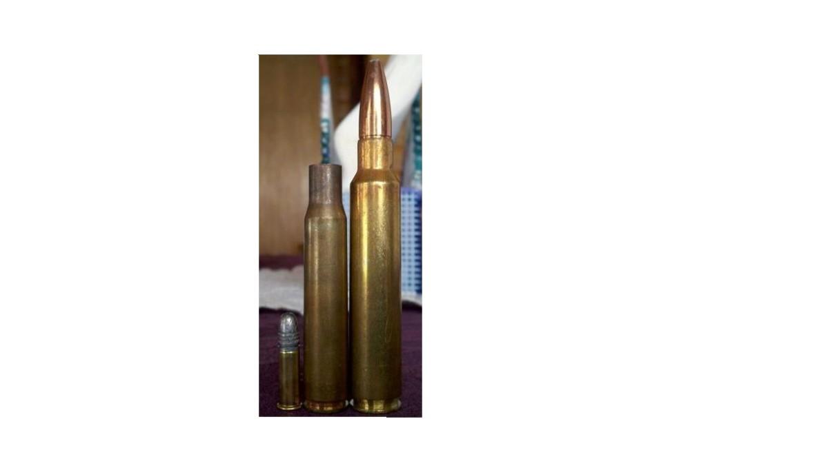 (L-R) .22 Long Rifle, .30-06 case, .338 RUM