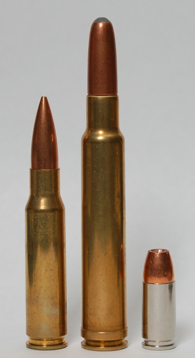 (L-R) .308 Win., .340 Weatherby, 9x19mm Luger