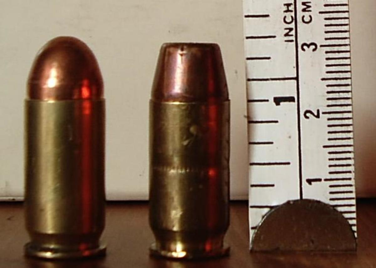 Most semi-auto pistols were originally designed to use just round-nose, fully jacketed bullets (left) and may not feed hollow points (right) reliably.