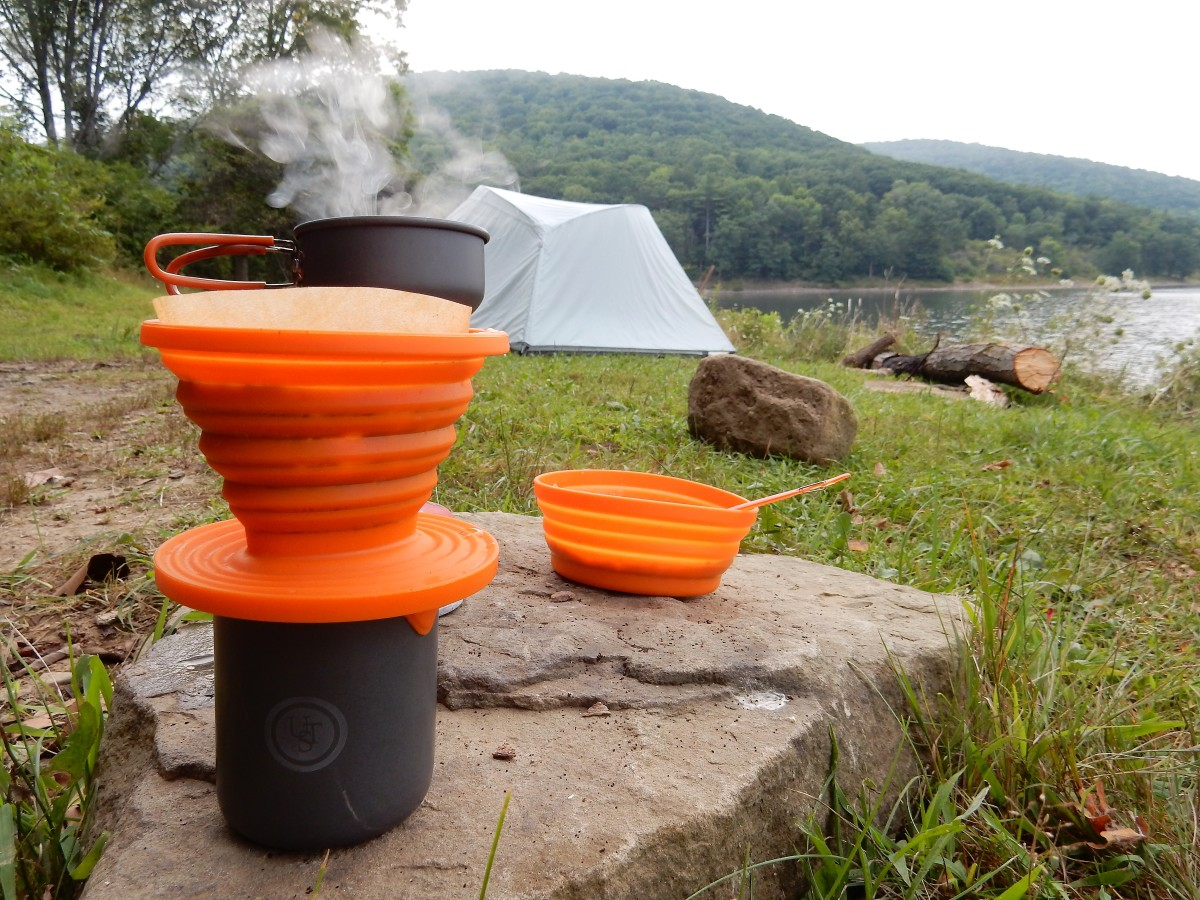 Brewing coffee while backpacking in the Allegheny National Forest.