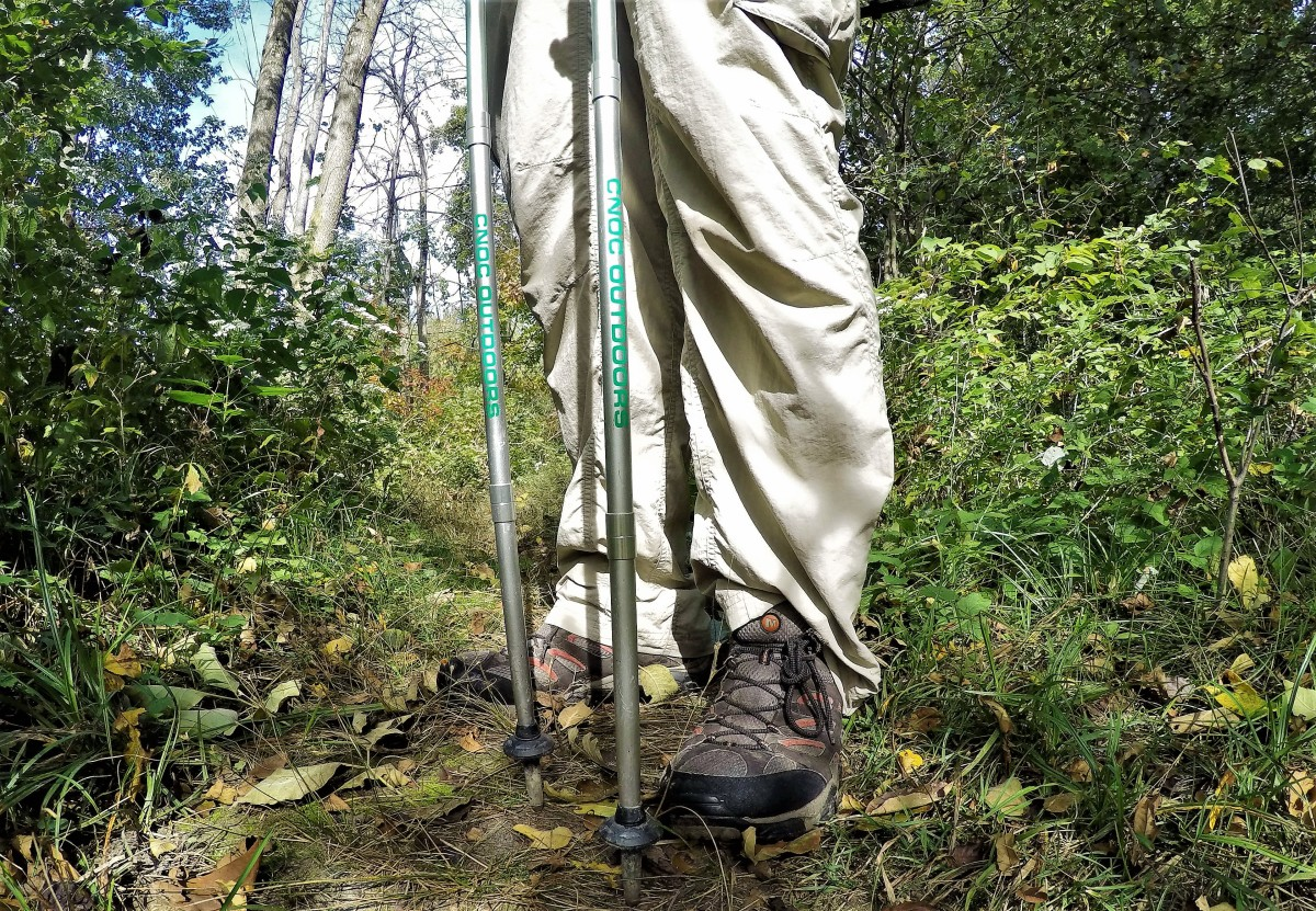 Trekking poles, like these Vertex poles from Cnoc Outdoors, will help keep you on your feet.