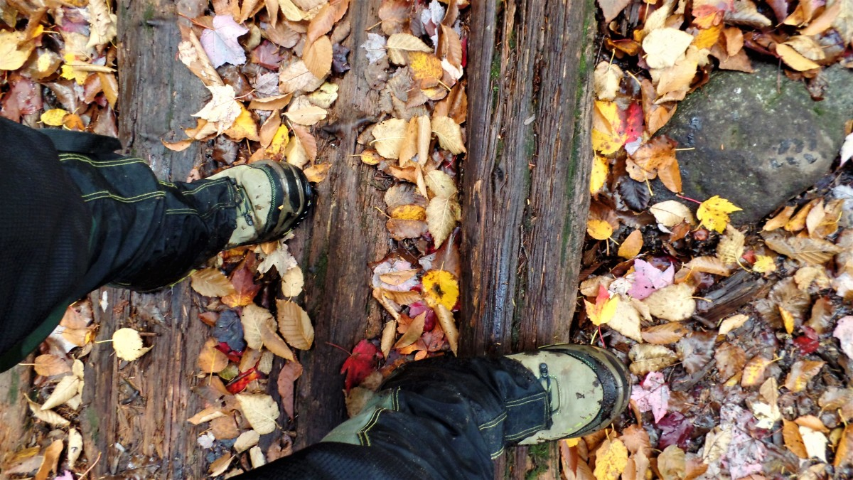 Slippery fall hiking conditions.