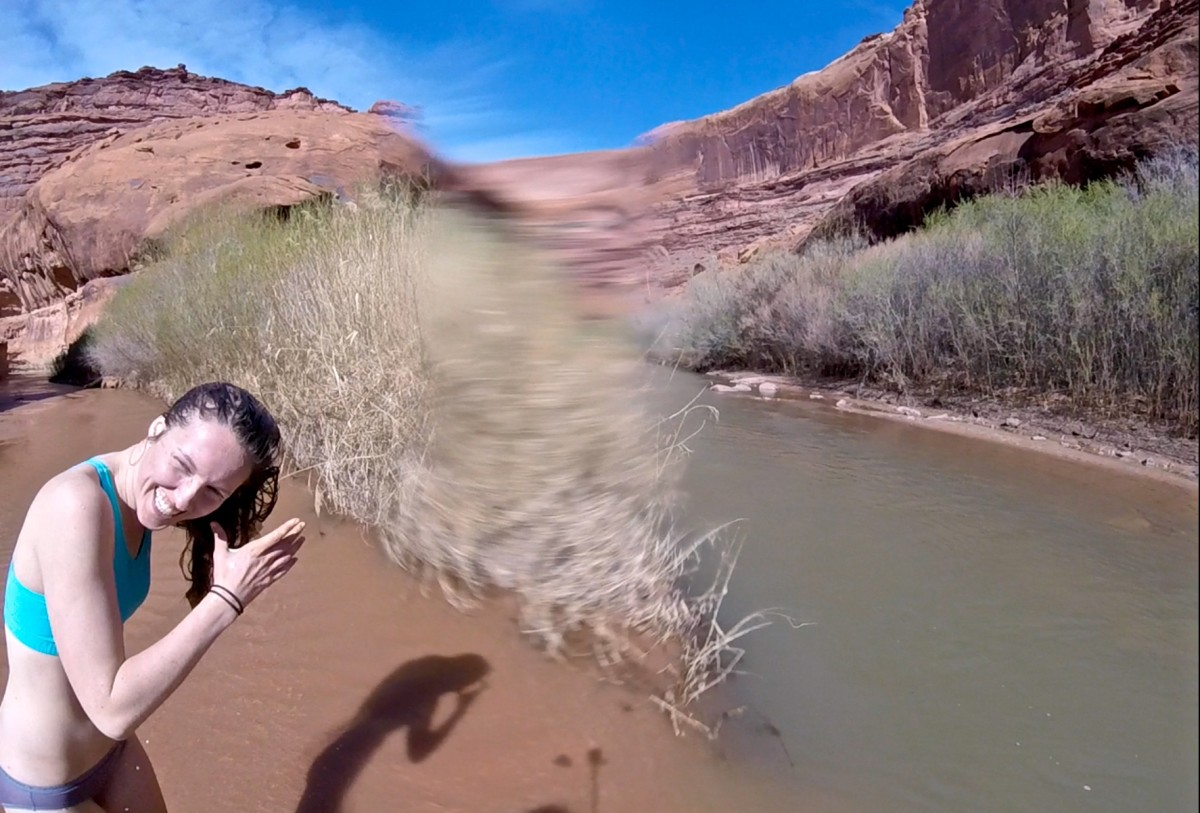 Refreshing rinse-off where Coyote Gulch meets the Escalante River