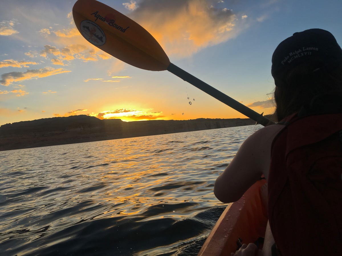 Kayaking to the campsite on Antelope Island after a day of exploring