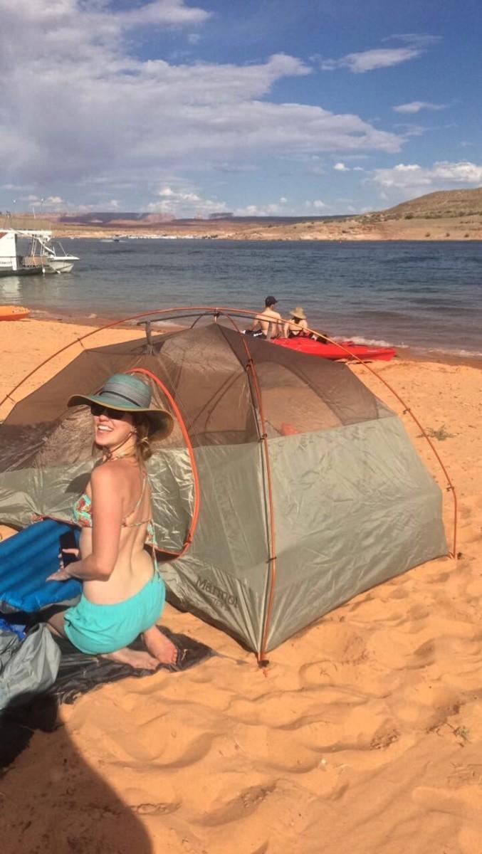 Setting up camp on Antelope Island