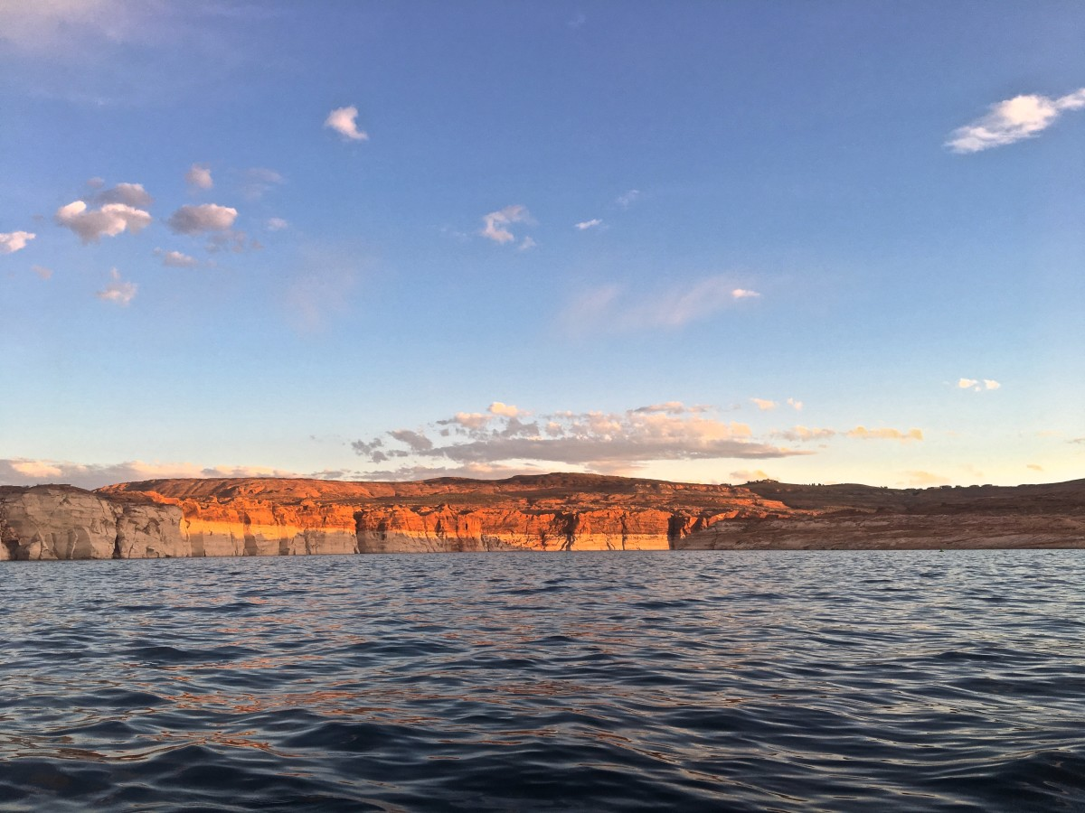 View from the kayak of the canyon ahead