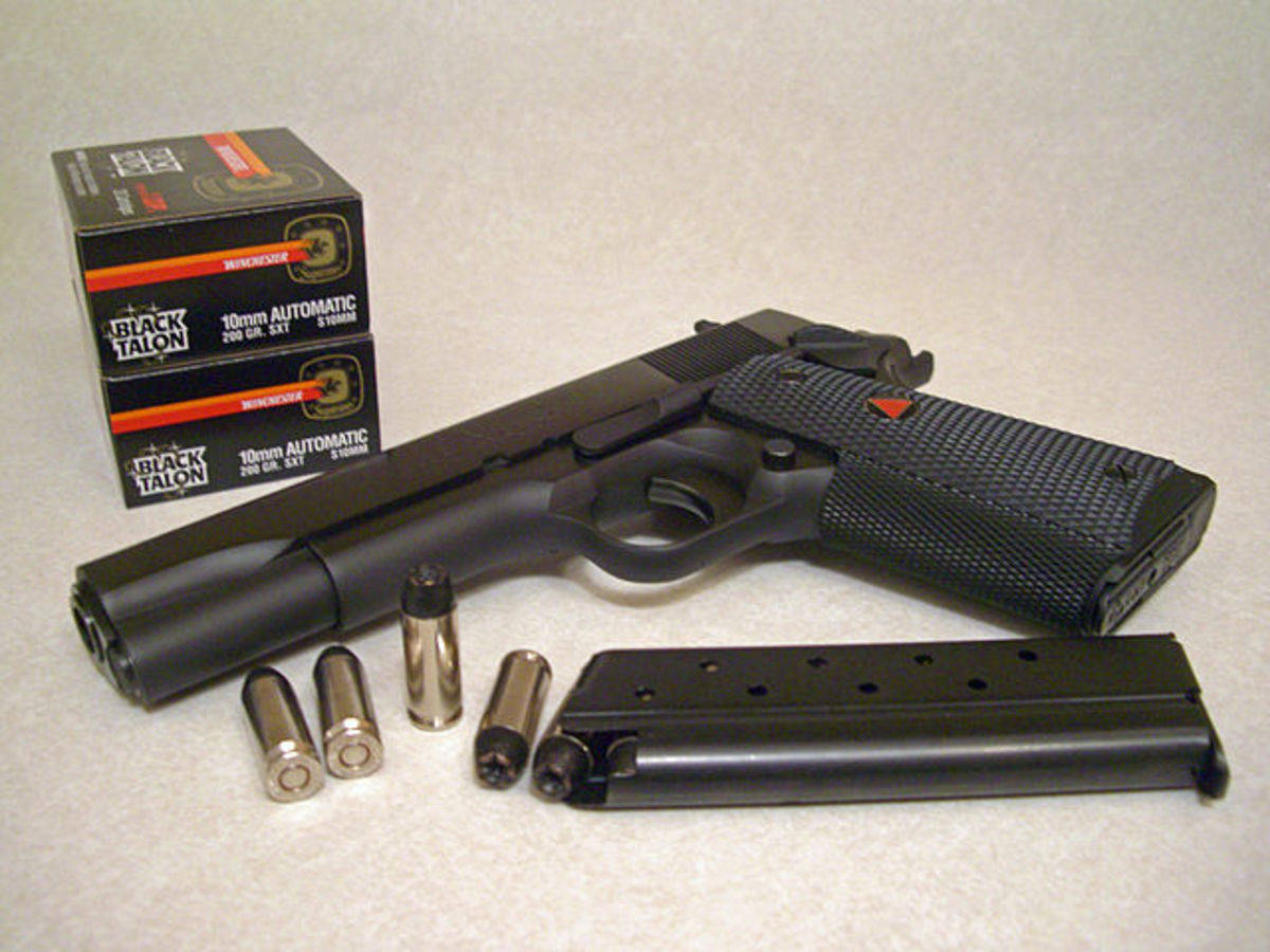 Colt's Delta Elite is a 1911 chambered for the potent 10mm Auto.  An excellent hunter backup gun.