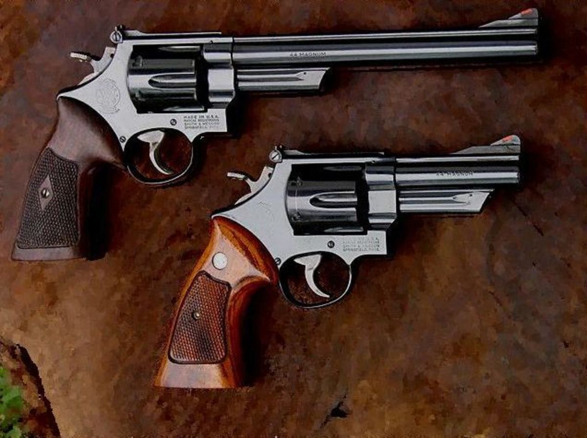 "The famous S&W Model 29 .44 Magnum.  The four-inch version makes a better hunting backup than the ""Dirty Harry"" eight-inch."