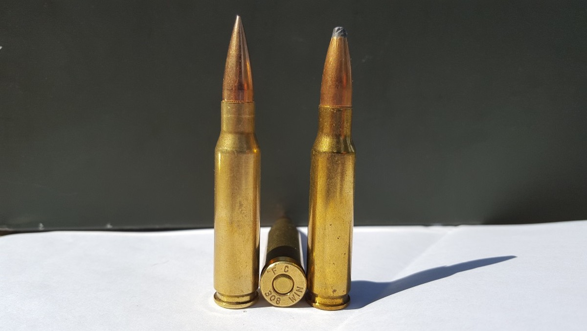 .308 Winchester.  Soft-point bullet on right is used for hunting.