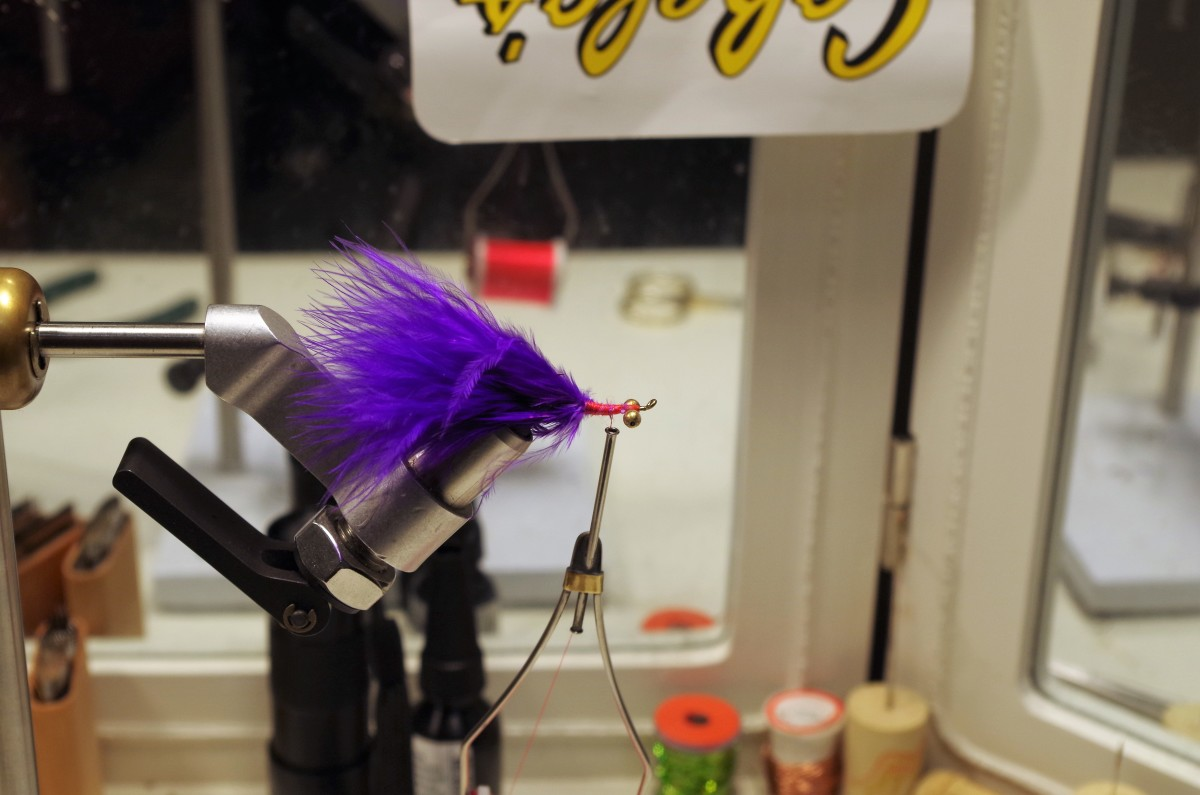 Trim butt end of the Marabou Plume, then build the body using tying thread