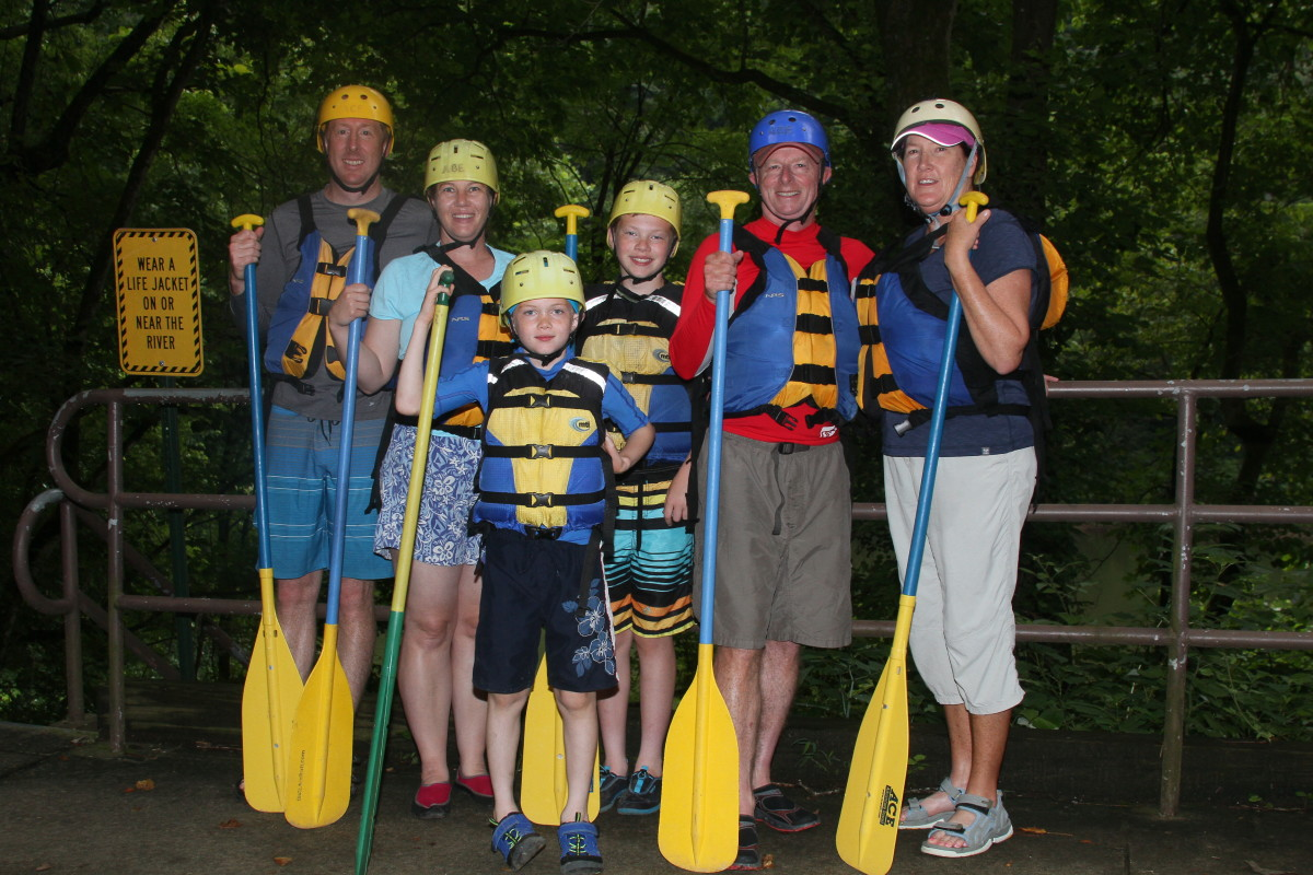The entire family was outfitted with helmets, tight-fitting life preservers, and paddles. The life preservers must be very secure so the jacket doesn't slip off during rescue attempts in the event someone is thrown from the raft.