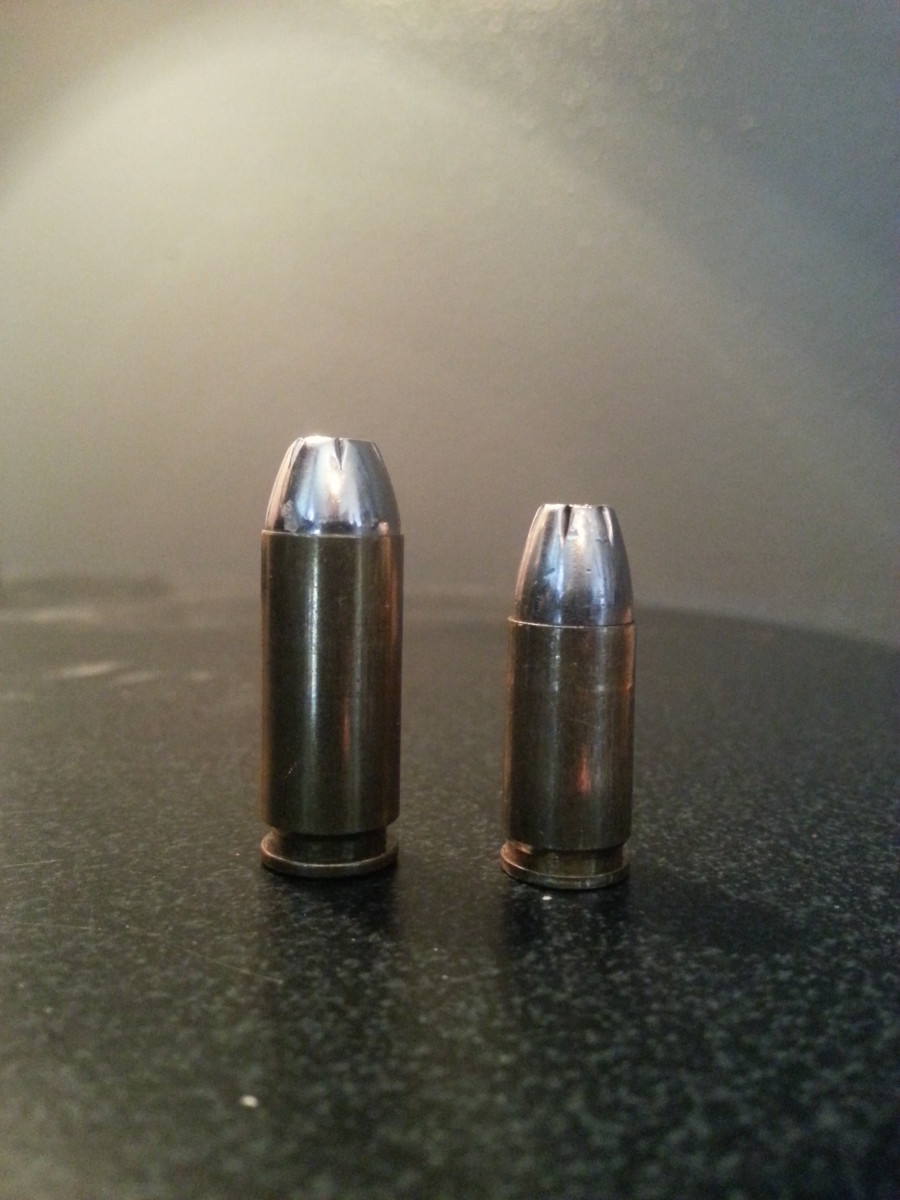 10mm Winchester Silvertip (L) next to its infamous 9mm brother.  Decades after it's debut, the 10mm version is still a great, dual purpose load.
