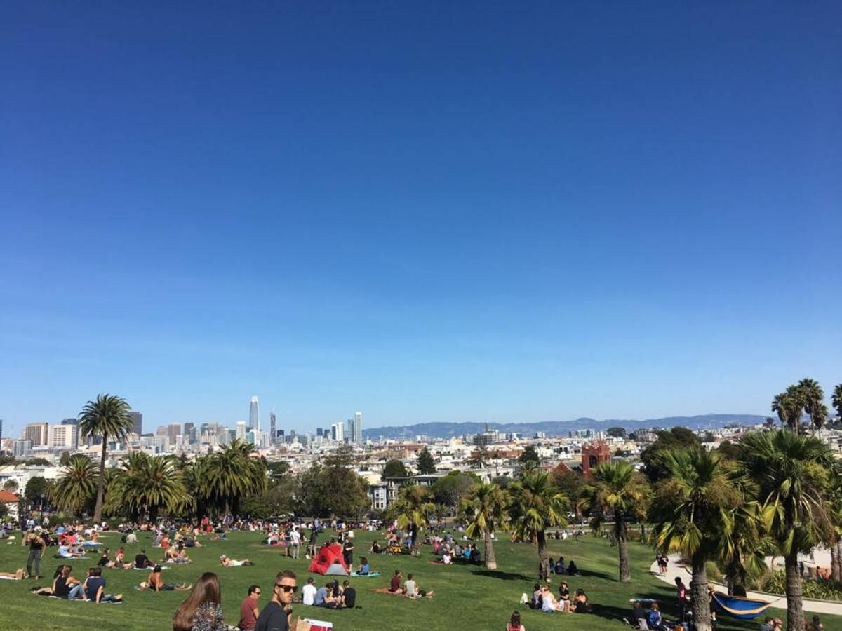 San Francisco's Dolores Park on a Gloriously Sunny Day. As you can see, it's a popular spot!