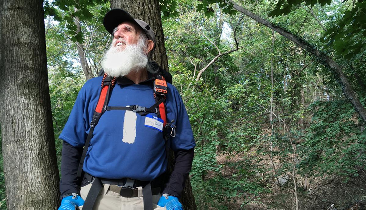 Dale Sanders taking a break on the trail