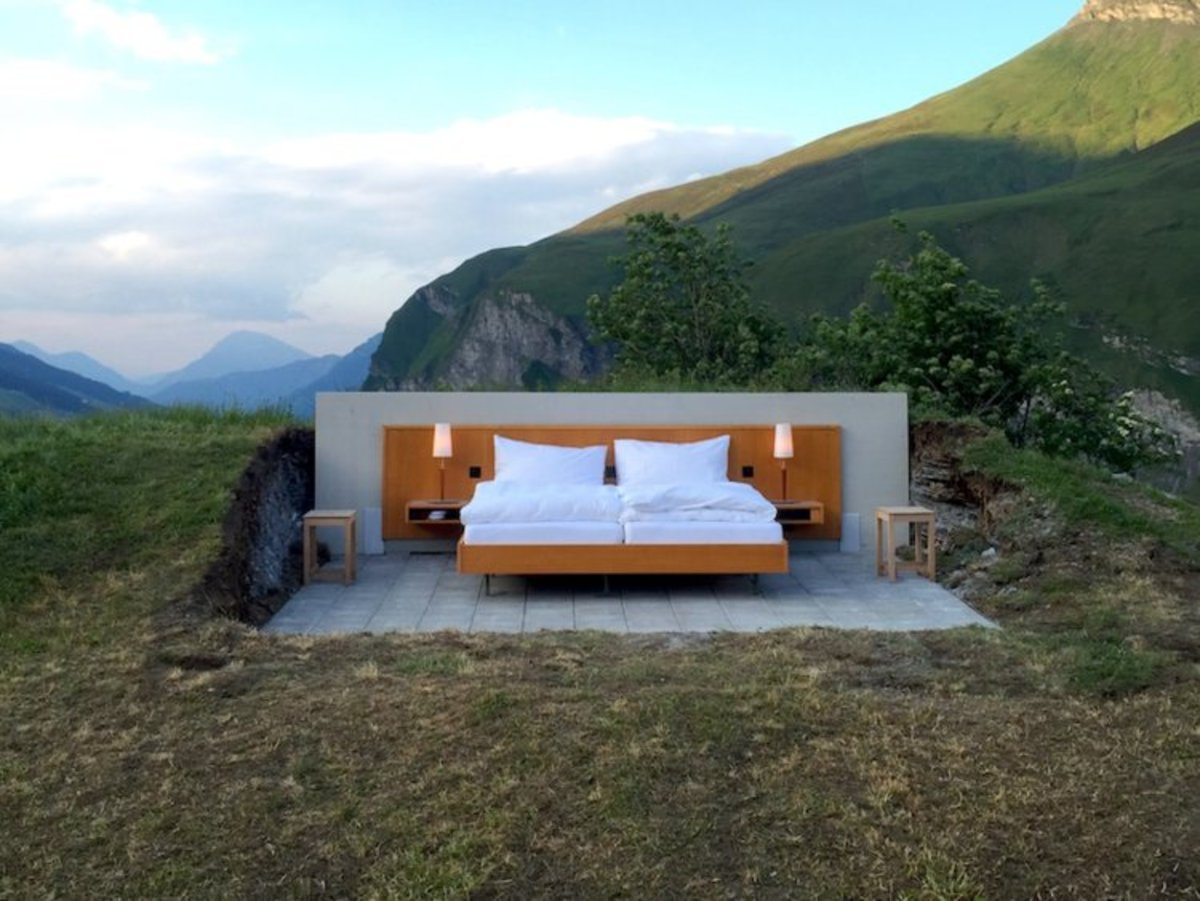 Actual glamping room in switzerland.