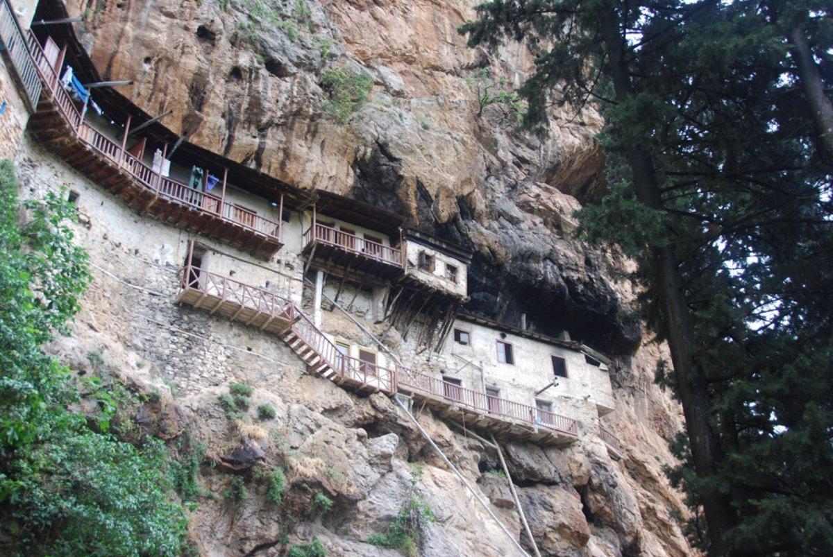 Podroumou monastery clings to the rocks...