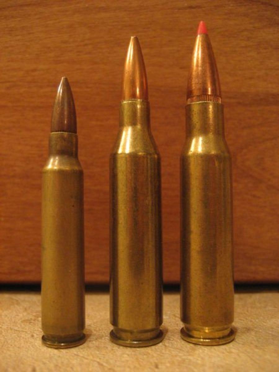 (L-R) .223 Remington, .243 Winchester, .308 Winchester