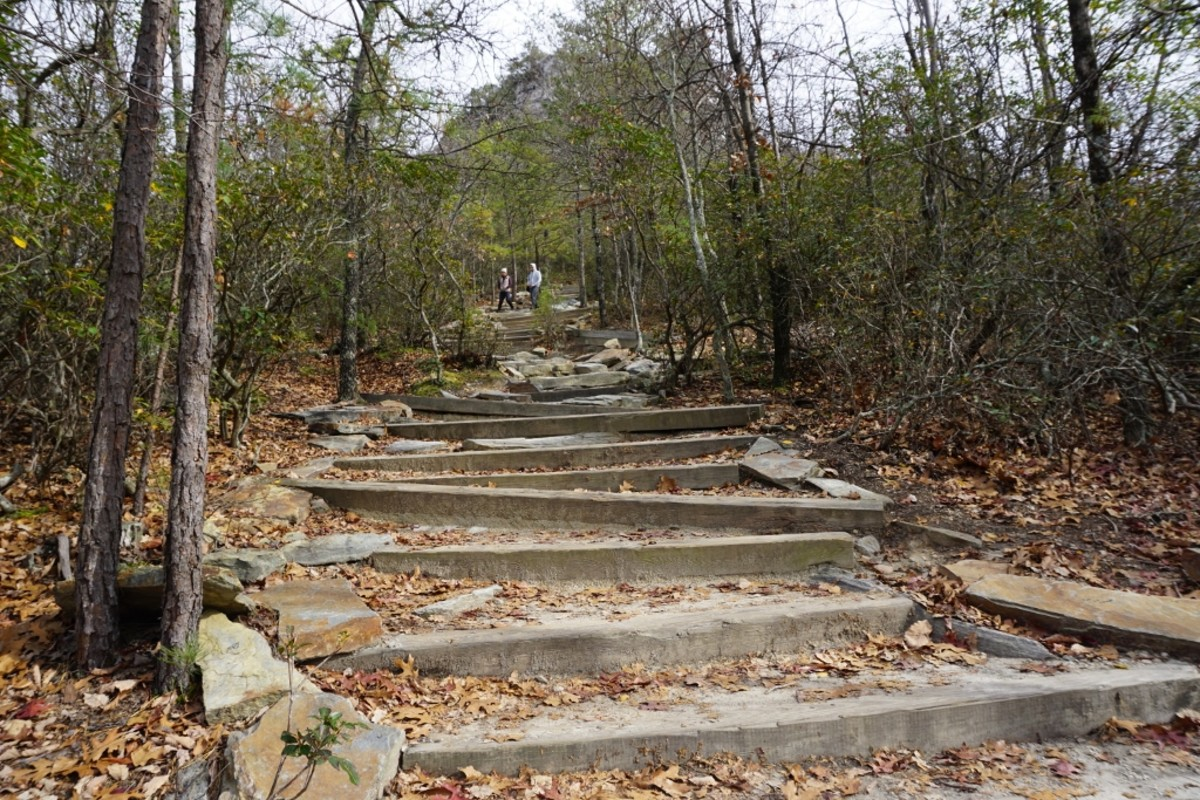 Hanging Rock Trail - many stairs to climb. Hanging Rock State Park Danbury, NC