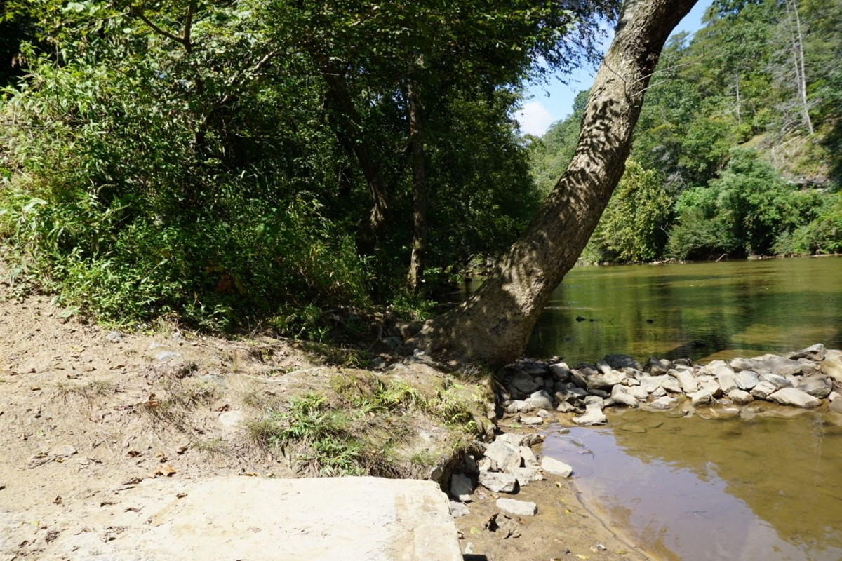 View from the canoe ramp on the Dan River at Hanging Rock State Park - Danbury, NC