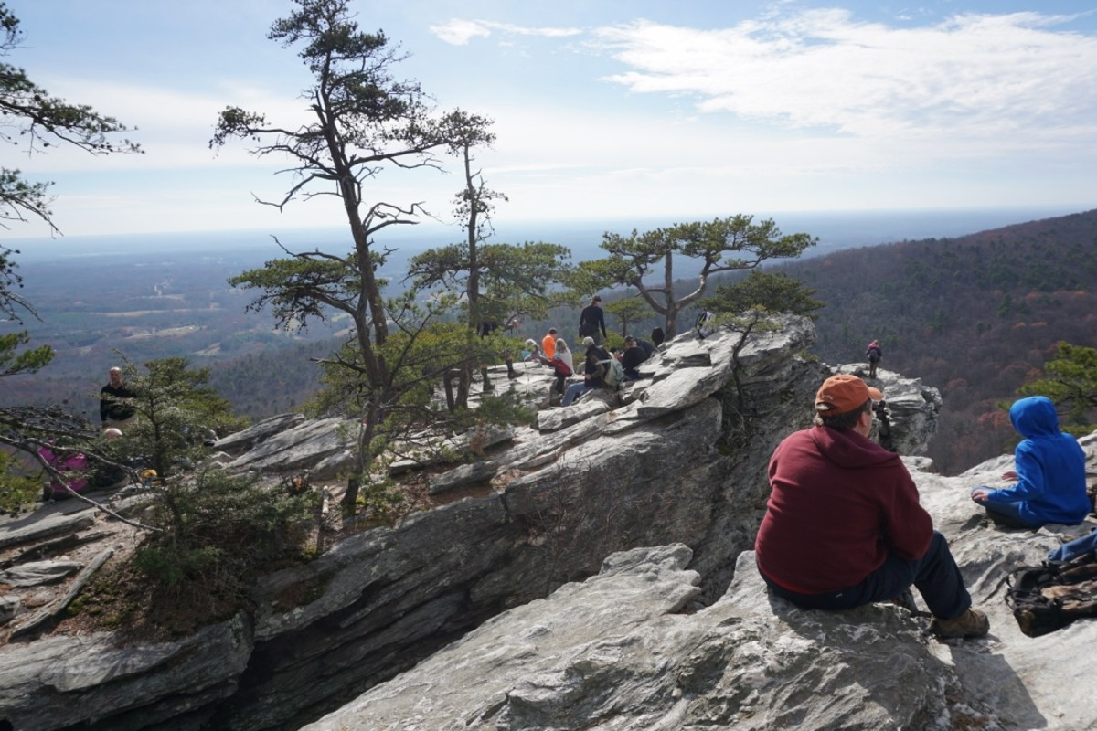 Hanging Rock Trail. It gets much more crowded than this. Hanging Rock State Park Danbury, NC