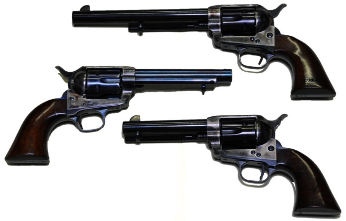 Colt Model 1873 Army (top) and two 1873 civilian models with different barrel lengths.