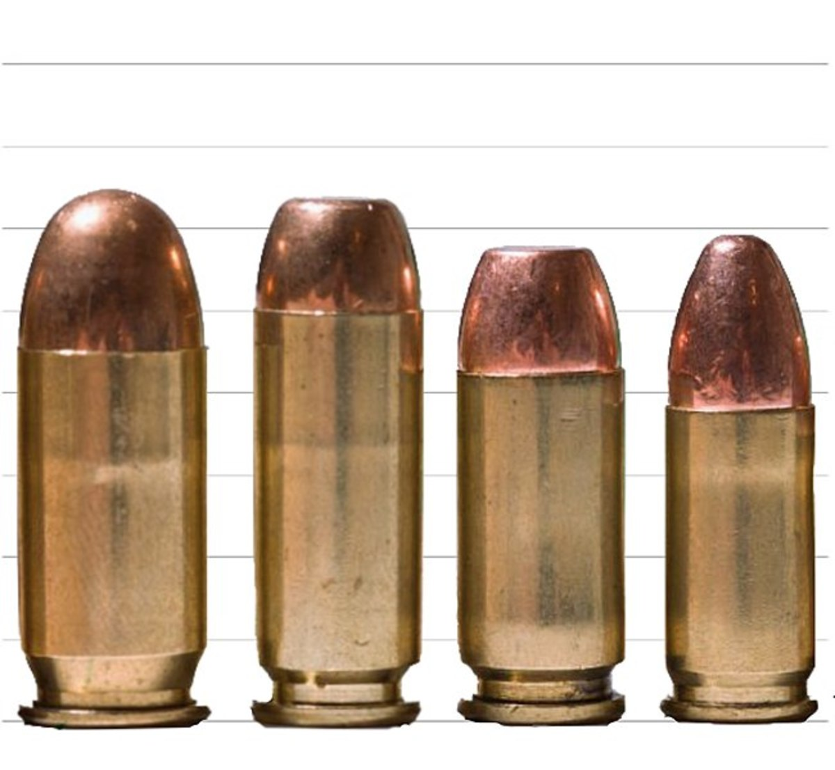 (L-R) .45 ACP, 10mm, .40 S&W, 9x19mm