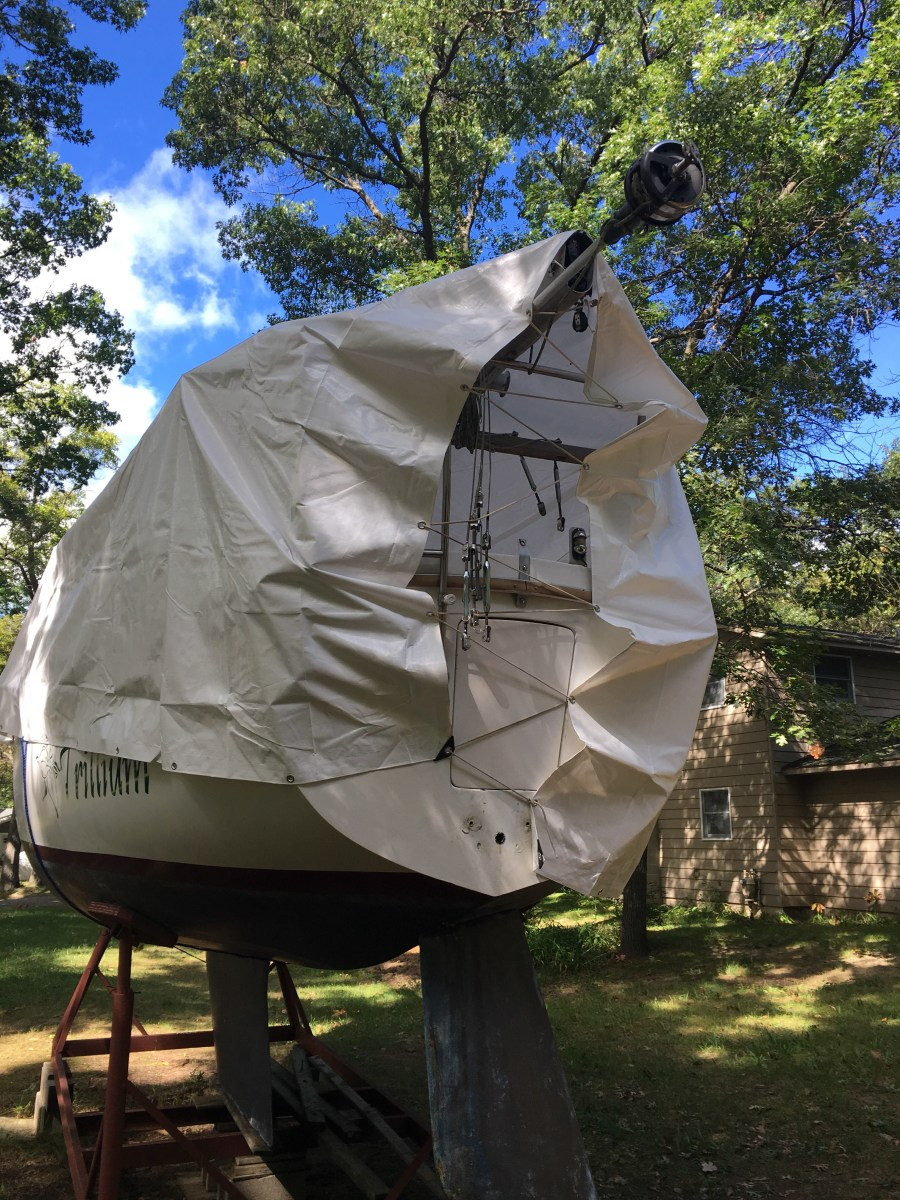 Stern with a snug wrapped tarp