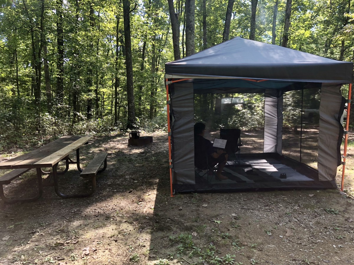 Trying out our new EZ-UP tent and screen room.  Highly recommended!