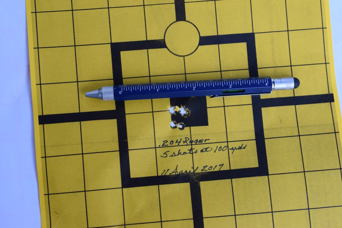 "Final zero of .204 Ruger rifle. The load is acceptable and the rifle is now ""field ready""."