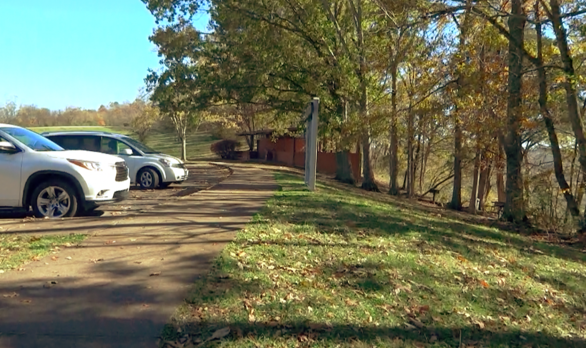 Parking lot directly off of the Natchez Trace Parkway.  The area has restrooms and picnic areas.
