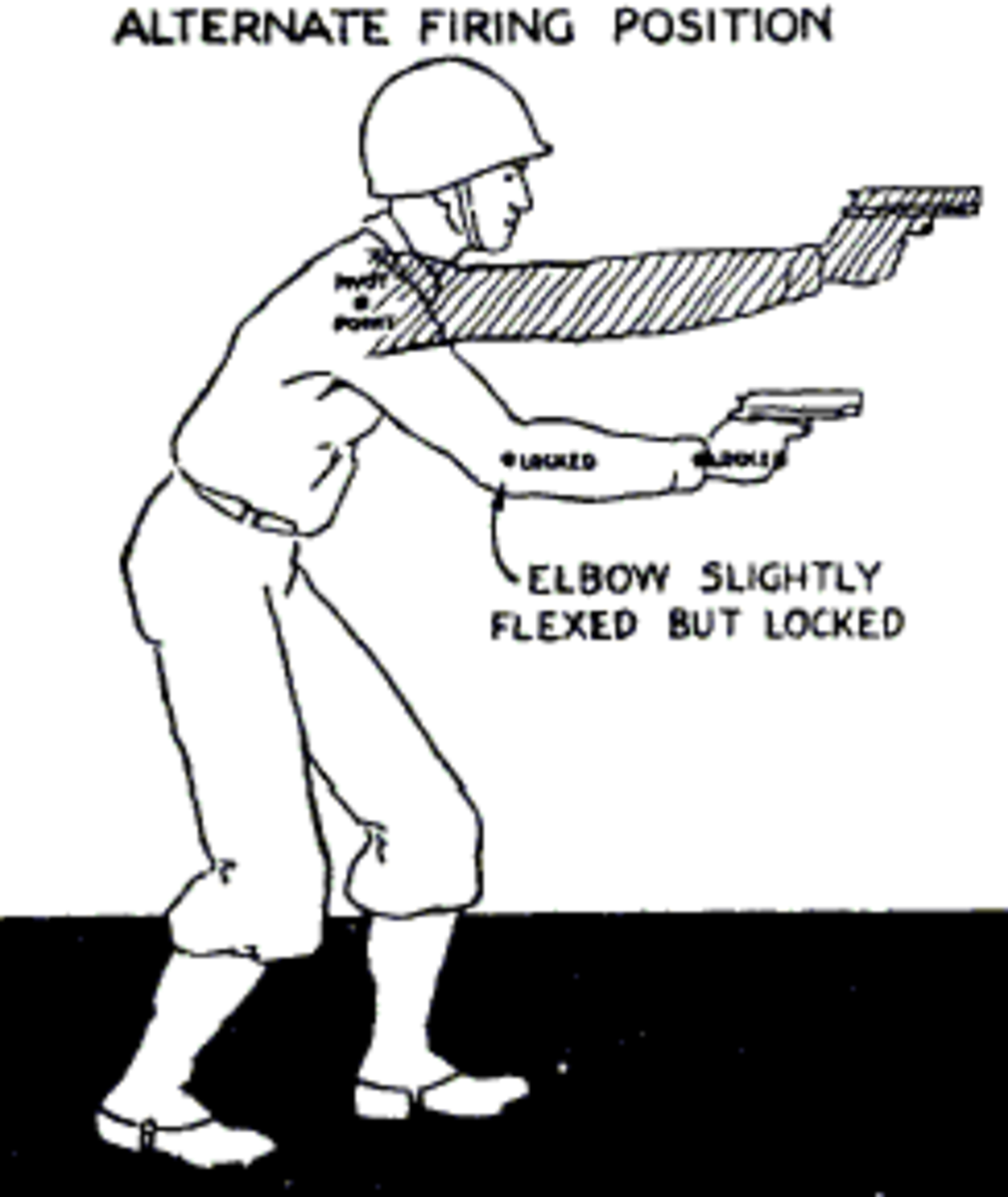 Image from a 1940s era USMC training manual shows the basic point shooting stance.