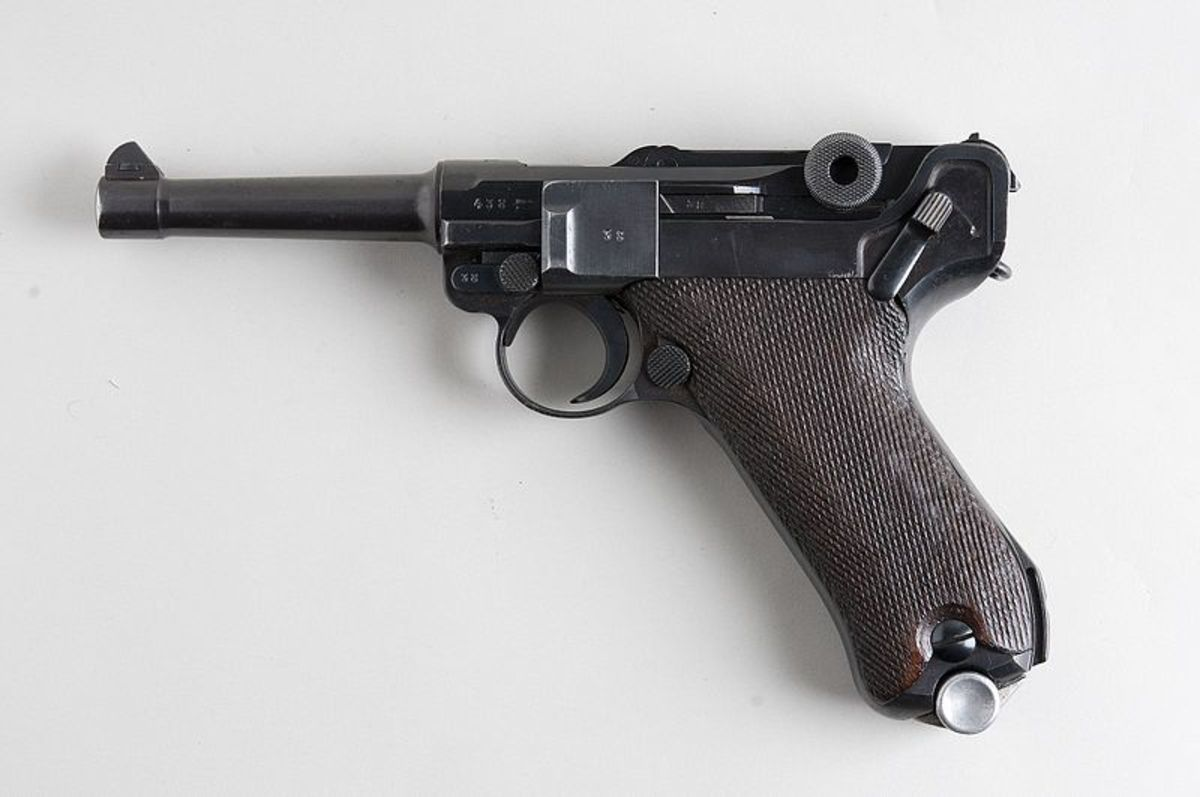 The P.08 Luger pistol has a natural point grip angle.