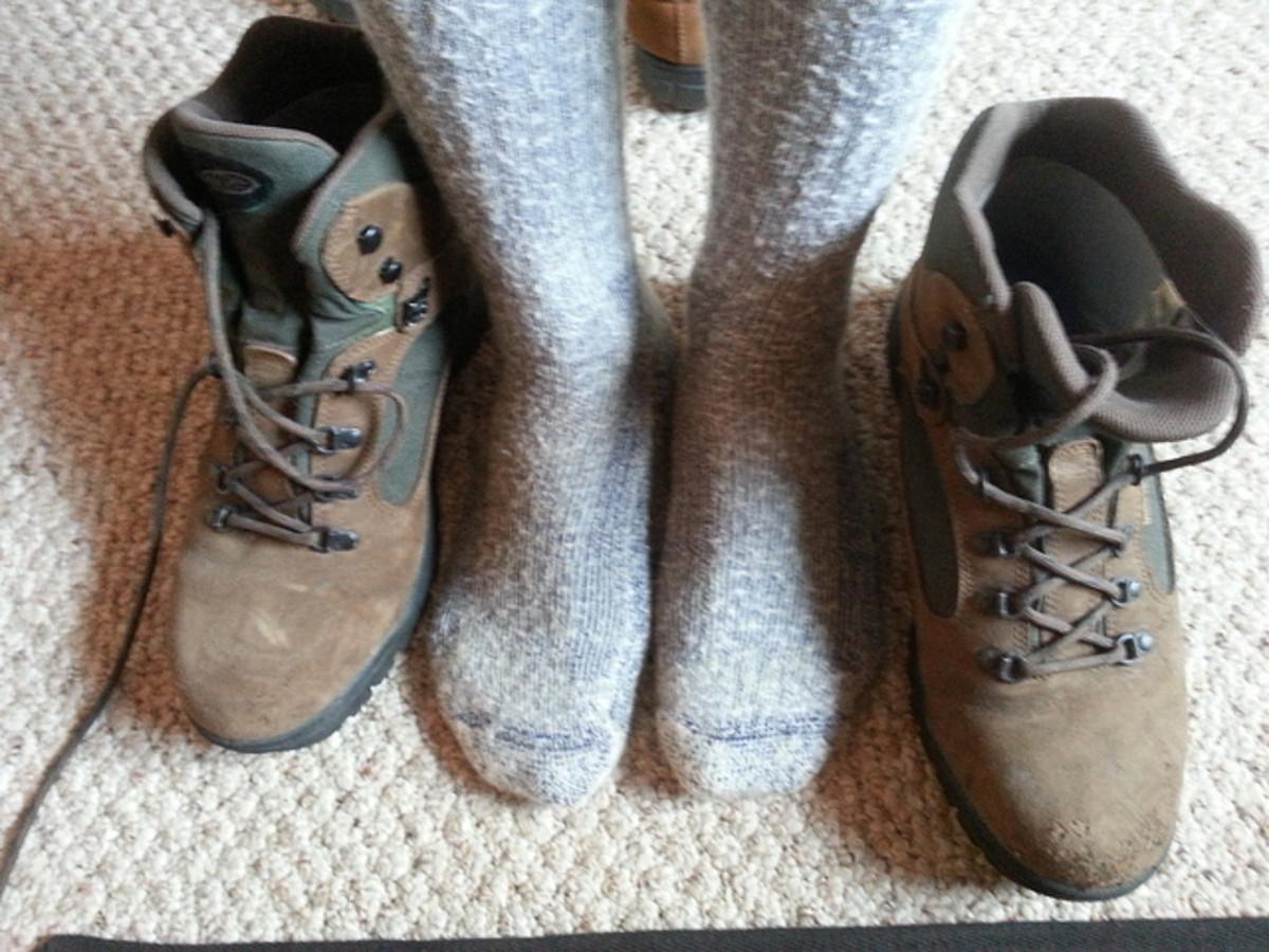 Smart wool socks keep your feet comfy while hiking.
