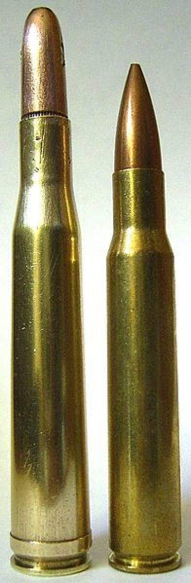 Cartridges with tapered bodies and shallow shoulder angles, such as the .300 H&H Mag. (left) and .30-06 (right), feed better under adverse winter conditions than more modern, straight-wall, sharp-shouldered rounds .