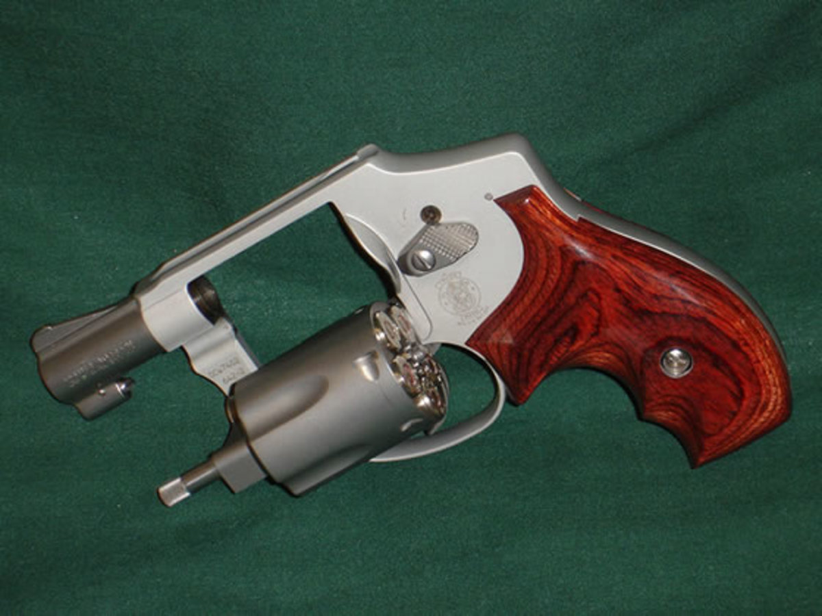 Snub-nosed revolvers, such as S&W's alloy-framed Model 642, make good belly and pocket guns. Shrouded hammer allows snag-free draws and firing from inside a coat pocket.