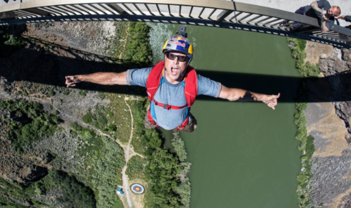 Miles Daisher, from the Red Bull team at Perrine Bridge, the only legal spot in the USA where the majority of BASE jumper begin their journey.