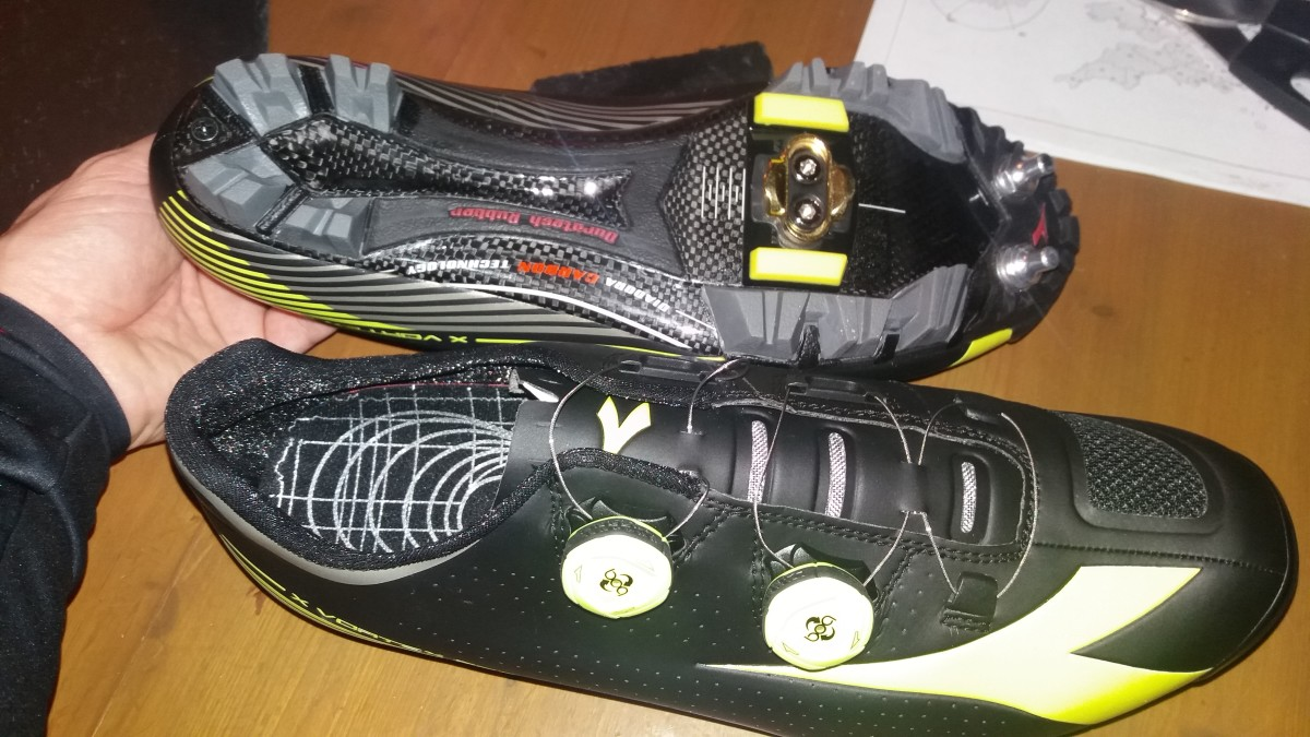 The aggressive sole of the Diadora X Vortex II Pro cycling shoe