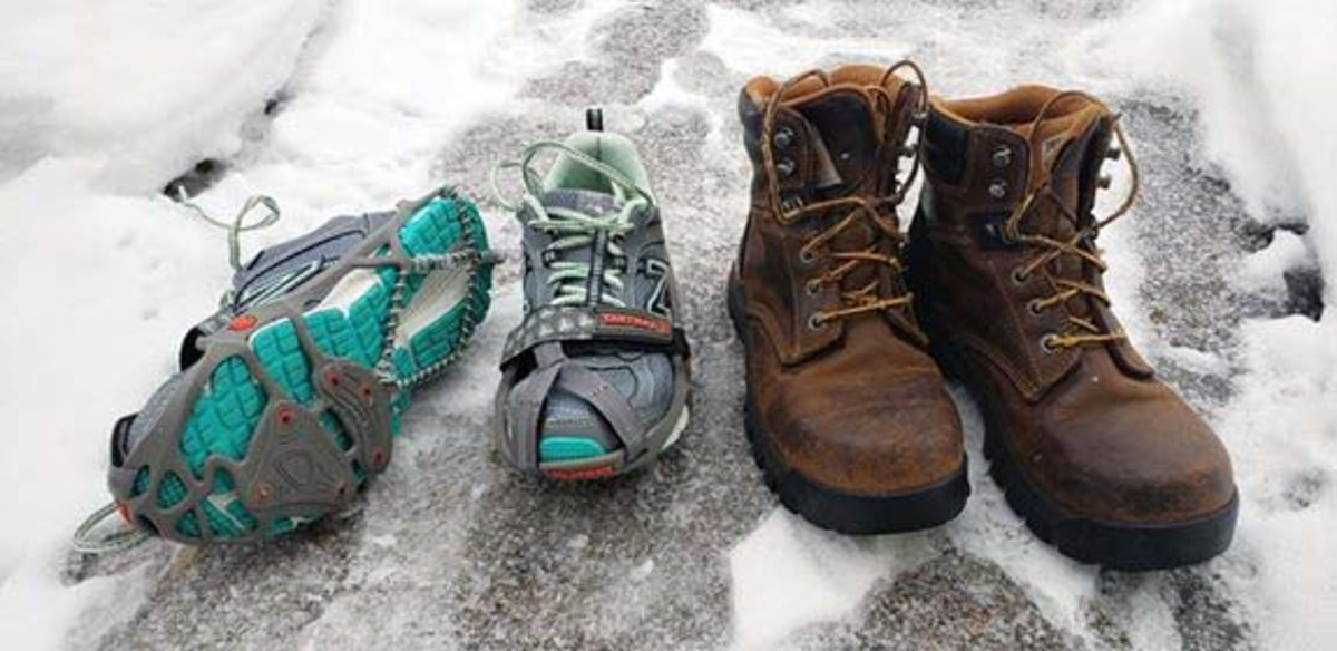 On the right are New Balance running shoes with Yak Trax. The Trax should be better centered on the toe, but they worked for now. On the left are the work boots from Carhartt that  double as winter and hiking boots. I wear extra socks in winter.