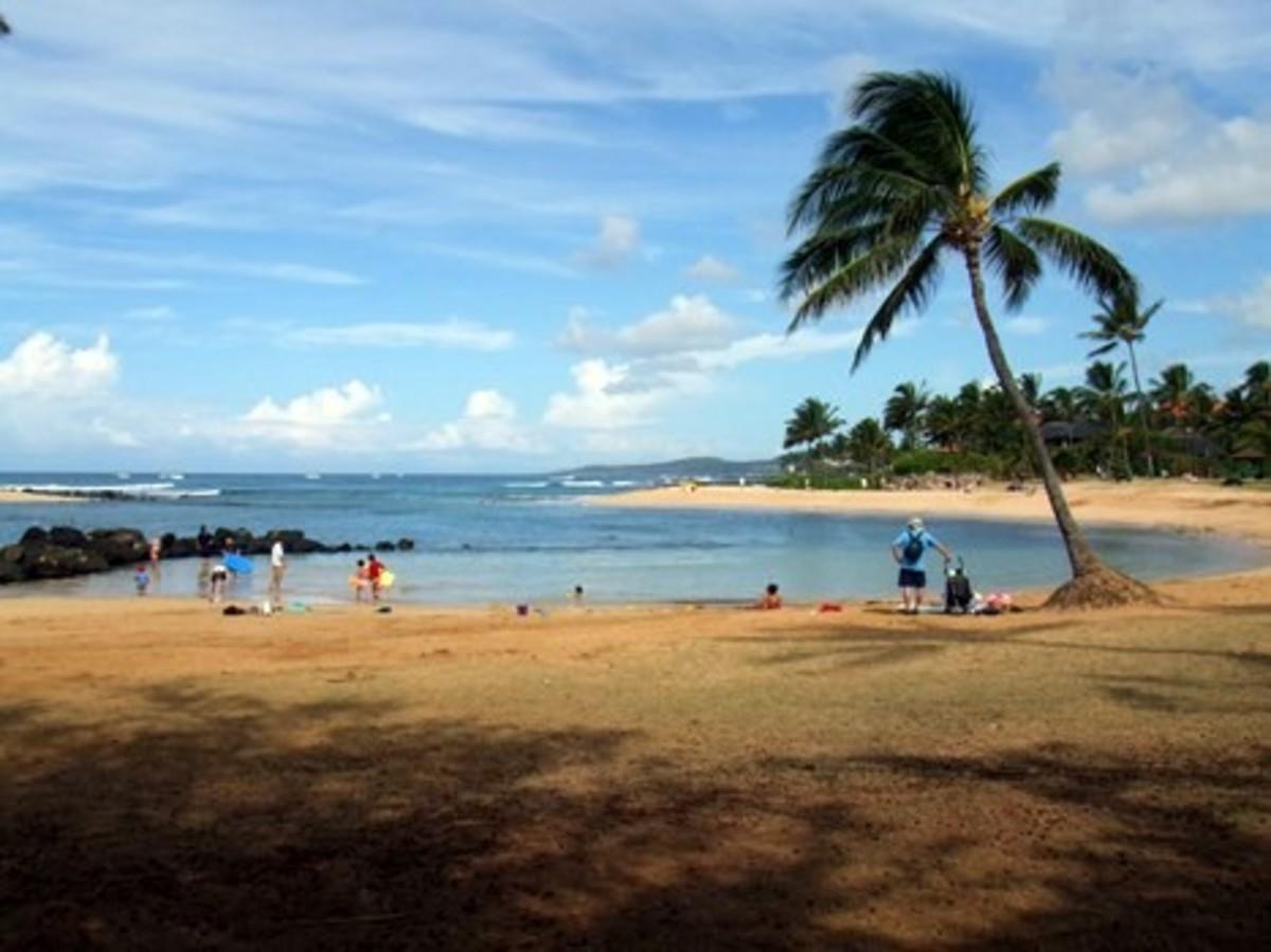 Poipu Beach Park, swim beach, on Kauai, HI