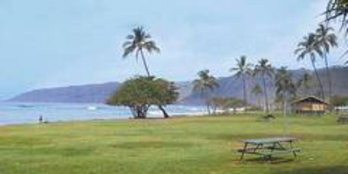 A camp area in Kea'au Beach Park, in the Honolulu, HI, region