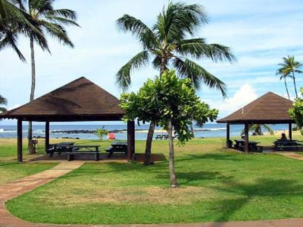 Poipu Beach Park in Kauai County, HI, with palm trees and the ocean