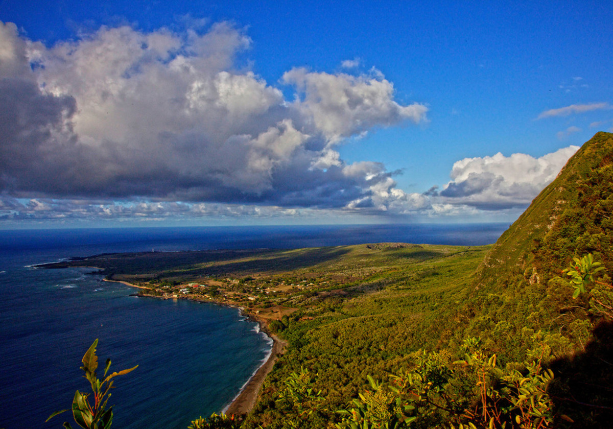 A view of the Kalaupapa National Historic Park with its former colony for patients being treated for leprosy, on Molokai, in the County of Maui, HI