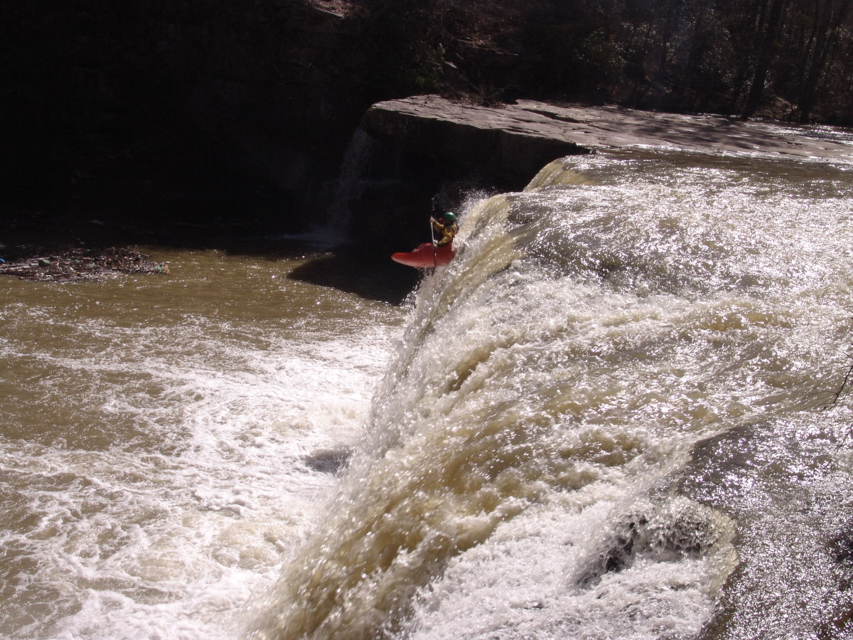 Kayaker Going Over Short Creek Falls