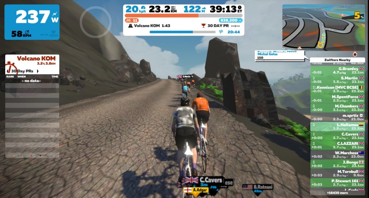 Climbing the Volcano on Zwift.
