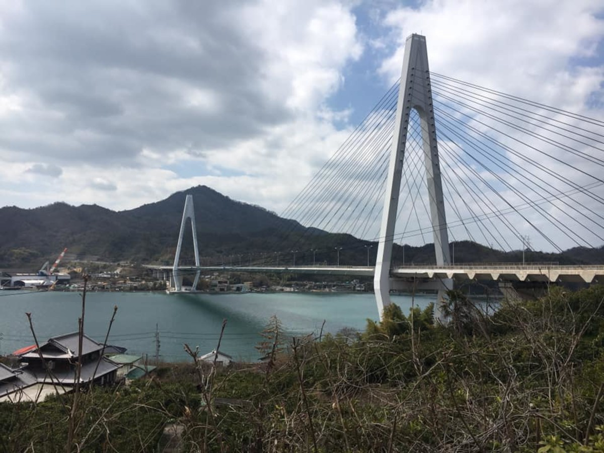 A view of one of the 7 bridges along the main Shimanami Kaido route, March 2020.